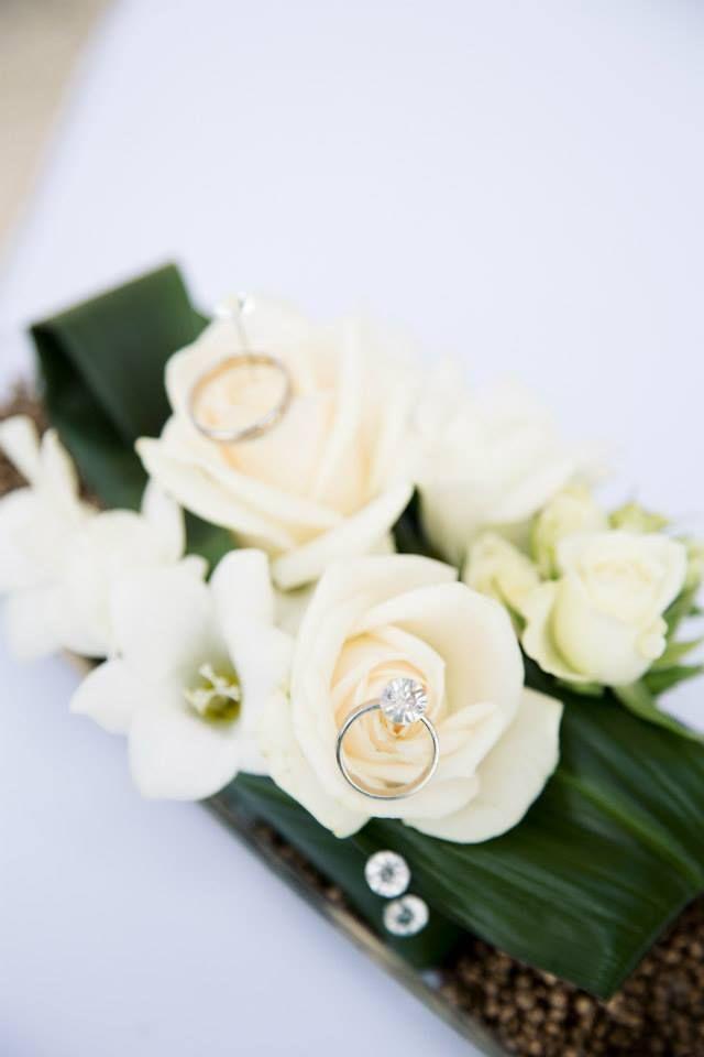 Květinová aranž na prstýnky