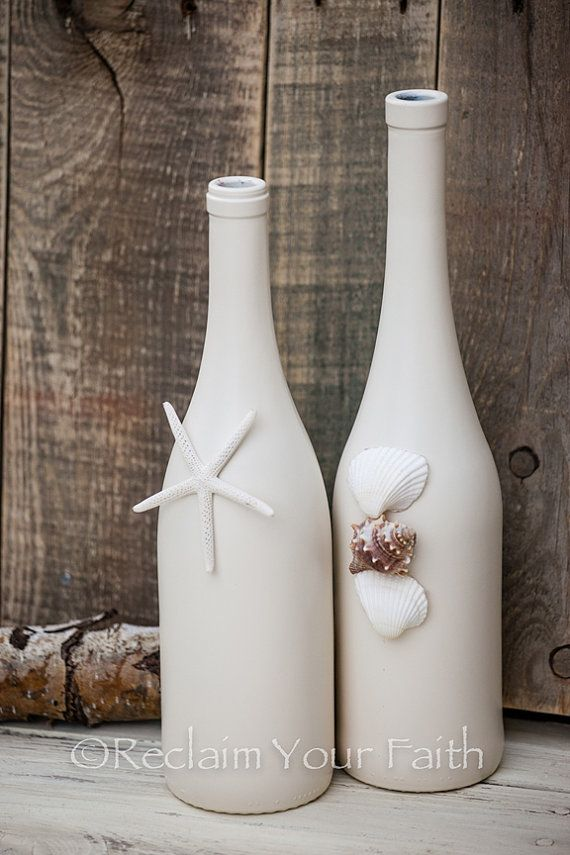 Seashell Wine Bottles by ReclaimYourFaith on Etsy, $24.00