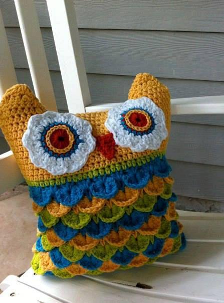 Owl Pillow Cushions Crochet Pillows by LoopsStitchesCrochet