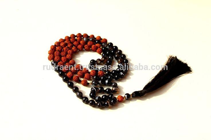 Black Botswana Agate, Rudraksha Gemstone Tassel Japa Mala Beads, Mala Beads Necklace