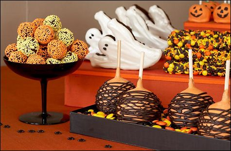 Trick or Treat... #birthday #party #candy #theme #dessert  #decoration #buffet #halloween #holiday #ghost #apple #caramel #trick #treat