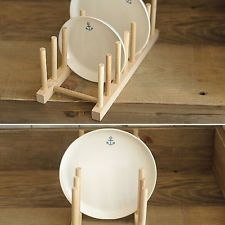 Wooden Wood Dish Plate Stand Rack Holder Drainer Holds 7 Plates Kitchen Tool New