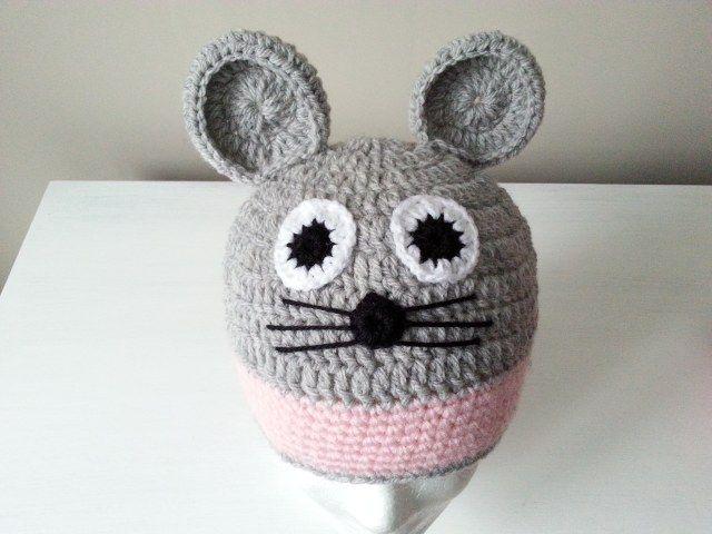 czapka Myszka na szydełku,crochet beanie Mouse, video tutorial