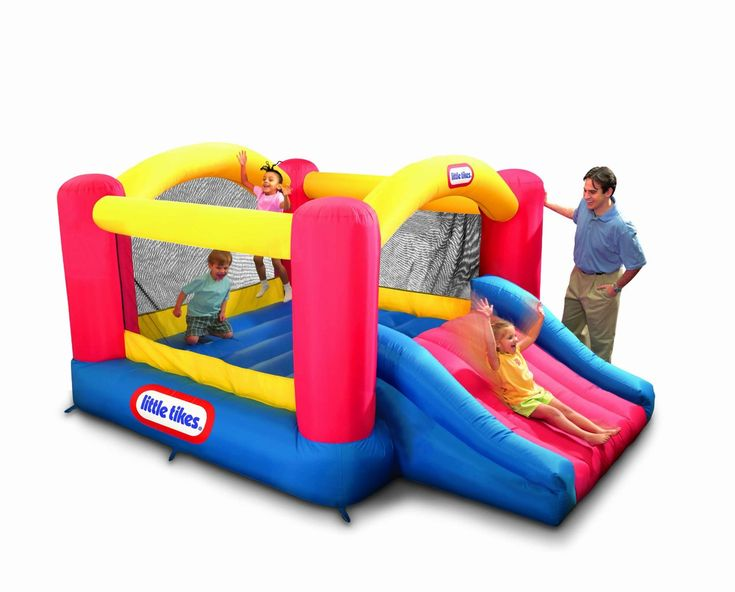 Little Tikes Jump n Slide Dry Bouncer. Why rent a bounce house for your childs party when you can own one year round for a fraction of the price? Your child will love thisJump n Slide Dry Bouncer. It comes with it's own blower, repair kit, and stor