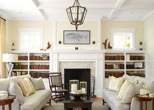 Built in shelves around fireplace with windows google for Fireplace with windows on each side