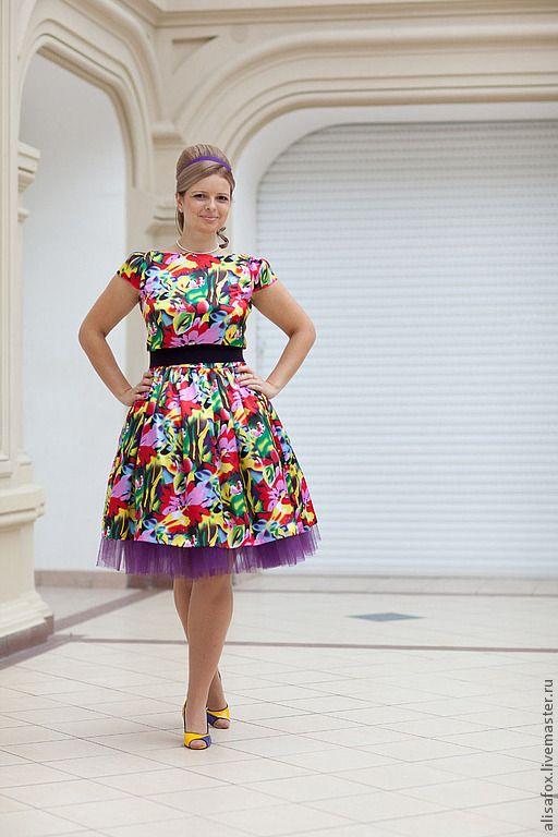 Купить Платье Стиляги , ретро , в стиле 50 -60 гг - цветочный, стиляги, ретро-стиль
