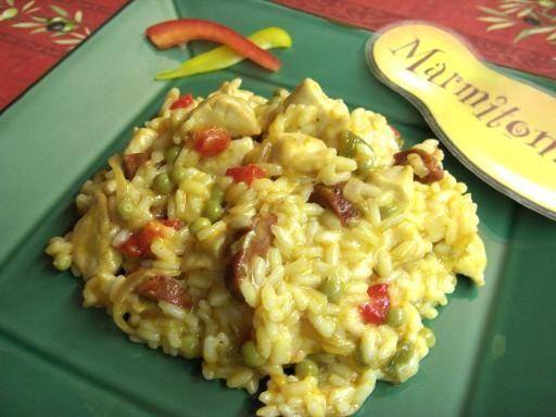 Risotto au poulet et chorizo - Recette de cuisine Marmiton : une recette