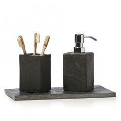 Home Republic Slate Bathroom Accessories, soap pump, toothbrush holder