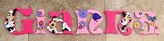 Personalized Wooden Wall Letters for Kids' Rooms - Minnie Mouse theme Fluttery Friends Toddler Bedding Set