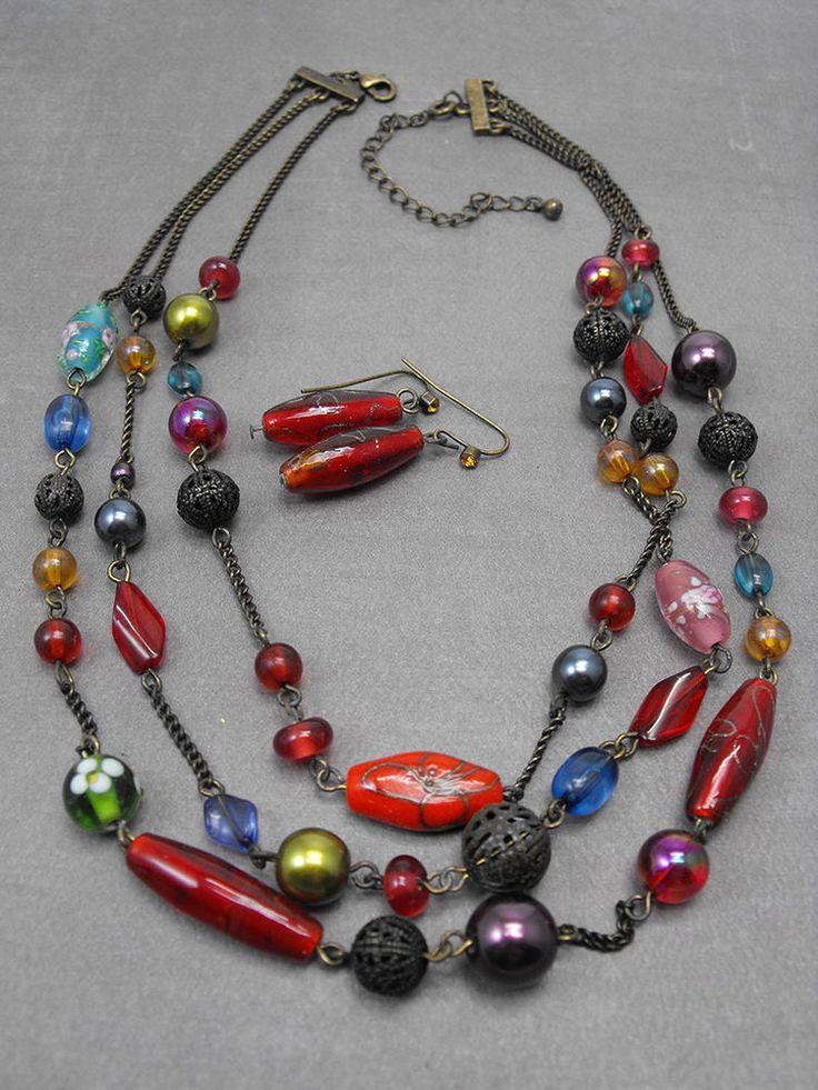 Avon Multi-Strand Venetian Glass Bead Necklace Earrings Colorful Red Bronze Tone  | eBay