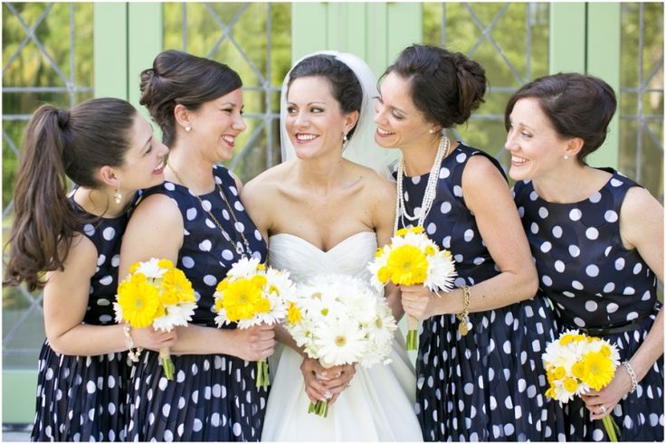 wedding photographer, bridal party, blue and white polka dot bridesmaid dresses, yellow and white daisy bouquets, St. Petersburg, FL Bay Wedding | Vinoy Hotel, Mary Fields Photography