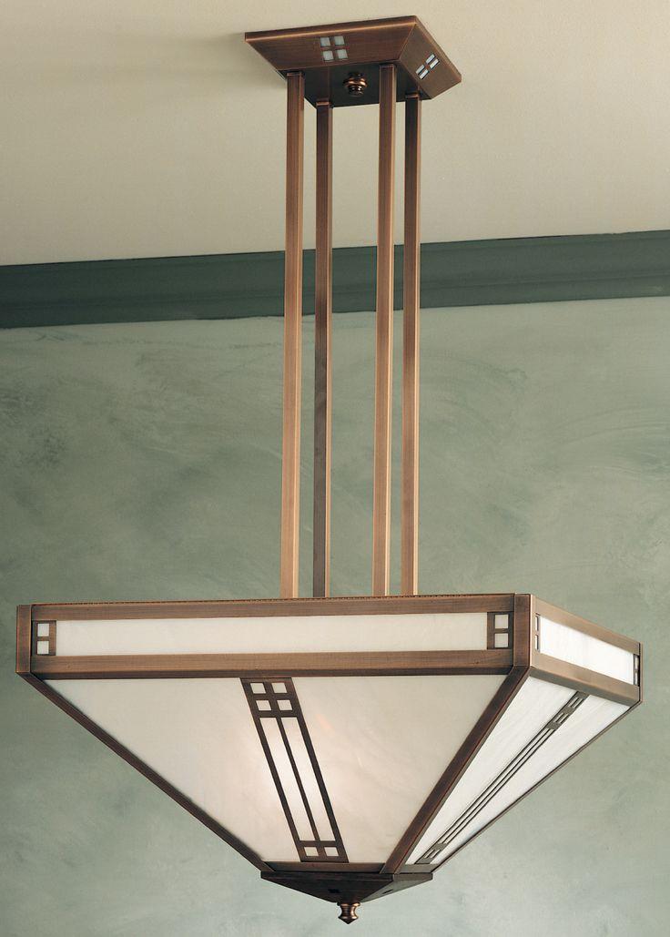 Foyer Lighting Craftsman : Prairie light inverted foyer pendant craftsman home