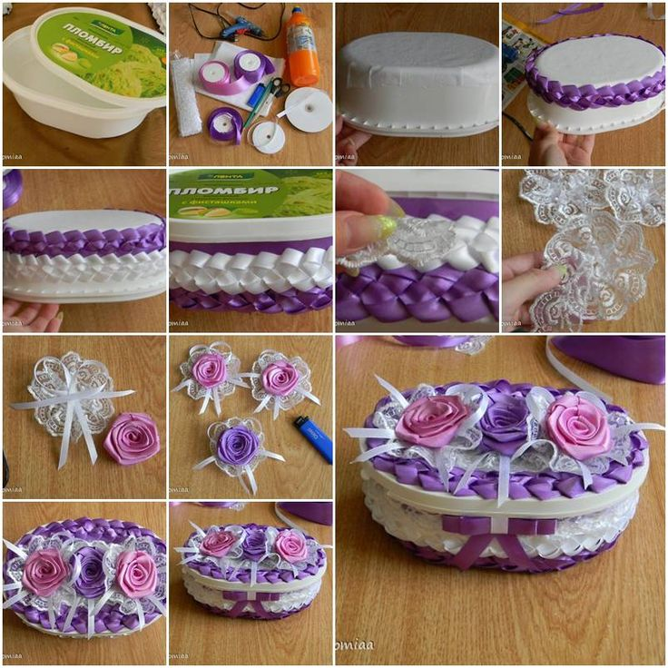 How To Make Beautiful Unusual Gift Box With Satin Ribbons Step By DIY Tutorial Instructions