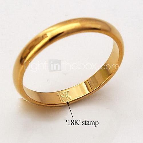 u7® anillos de oro llena de alta calidad 18k gruesos para hombres de las mujeres de estilo clásico simple, con sello 18k - USD $2.99