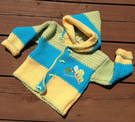 Crochet Baby Sweater, Handmade caterpillar sweater with hood, Baby Sweater, Girl Sweater, Boy Sweater - Size 2