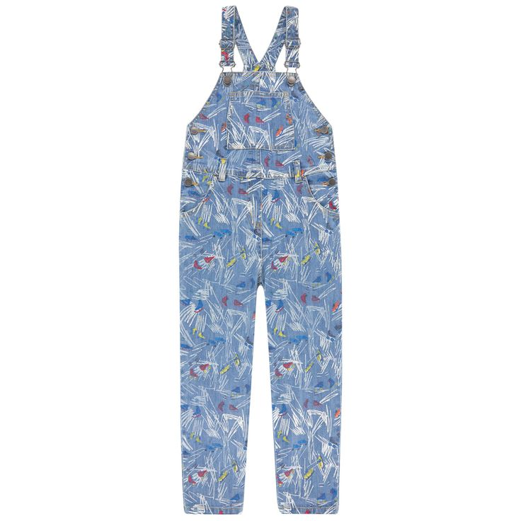 Cotton denim Stretch denim Long cut Straight leg fit Fancy bib on the front Wide straps that hold in place on the shoulders Five pockets Clip straps on the chest Buttons on the sides Logo buttons Mock fly Fancy print Randomly placed patterns Contrast topstitching Logo patch at the back - $ 82.80