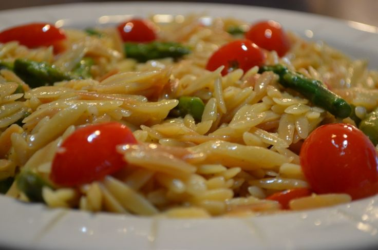 Lemon Orzo with Asparagus and Cherry Tomatoes - Happily Unprocessed