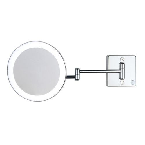 Image Gallery For Website Gorgeous high end modern designer LED lighted wall mounted bathroom hard wired magnifying mirror in chrome with swiveling arms