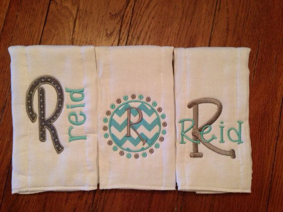 love the colors great for boys room  Personalized Baby Burp Cloth set of by BabyCheeksBoutiques on Etsy, $28.00