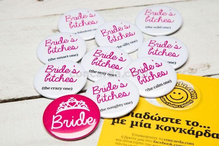 Κονκάρδες νύφης Bride Bitches μόνο στο concarda.com