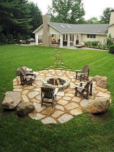 Exterior Design: Fresh Traditional Patio Design With Adirondack Chairs And Building A Backyard Fire Pit Plus Stone Pavers Also Green Lawn With Stone Chimney And Lounge Chair Plus Green Plant, how to build a fire pit, outdoor fireplaces and fire pits ~ SKFF.org