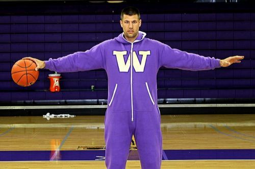 Future costume historians will look back on this as the first, primitive instance of humans donning the aerodynamic space jumpsuits that we will all surely wear by the year 3000.: Birthday Presents, Student Models, Air Jordans, Purple Swagga, Half Birthday, Swagga Suits, Uwswag, Jon Brockman, Uw Swagga