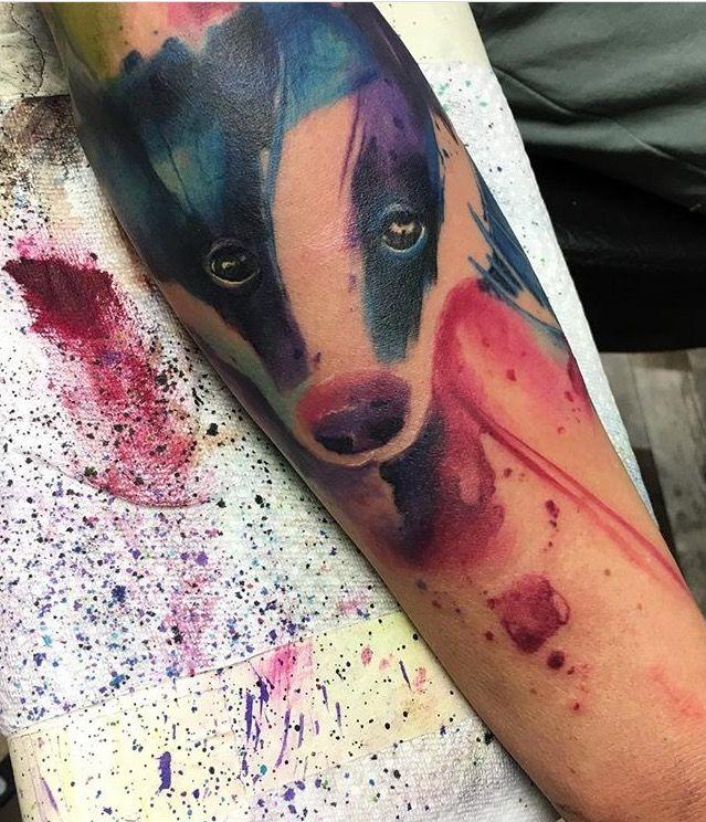 Emrah Lausbub watercolor badger tattoo