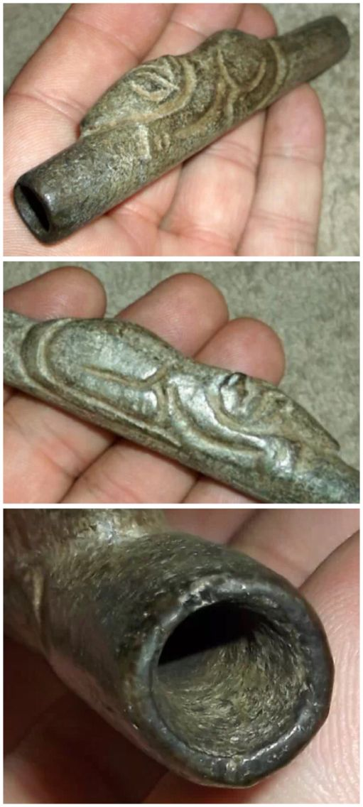 Ancient Native American Woodland period pipe from Ohio, possum effigy, steatite. Native American Indian artifacts.