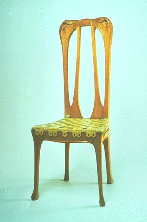 Hector Guimard, Side Chair - c. 1904 - Pearwood with leather upholstery - Carnegie Museum of Art, Pittsburgh, PA - Art Nouveau