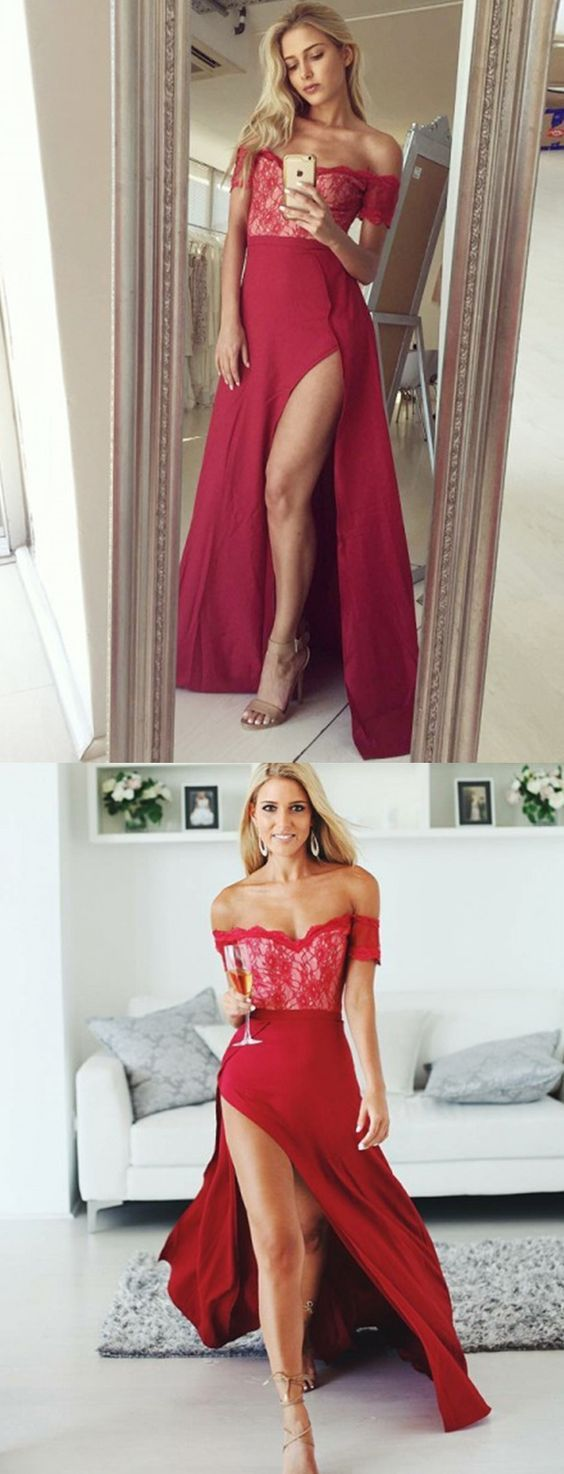 A-Line Off the Shoulder Split Burgundy Stretch Satin Prom Dress with Lace M1585