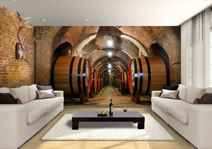Wine Cellar Custom Wallpaper Mural Print by Jw & Shutterstock