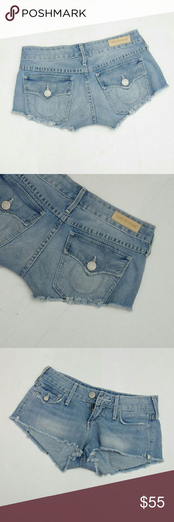 "True Religion Joey Daisy Duke Short Shorts Light was True Religion Daisy Duke cut off short shorts.? Excellent condition.? Size 23 (like a 00).  Measurements:? 14"" across waist, flat? 7"" rise? 2"" inseam True Religion Shorts Jean Shorts"