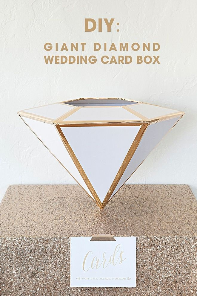 wedding reception directions card%0A DIY  Giant Diamond Card Box For Weddings  NOTE  Pinned for directions on how