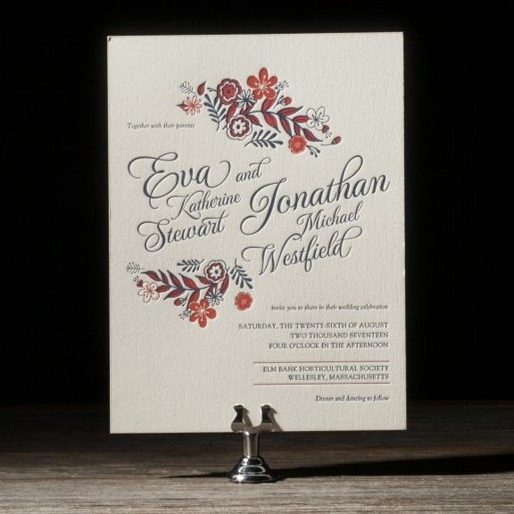 Folk Floral is a vintage letterpress wedding invitation design and save the date overflowing with retro chic charm.