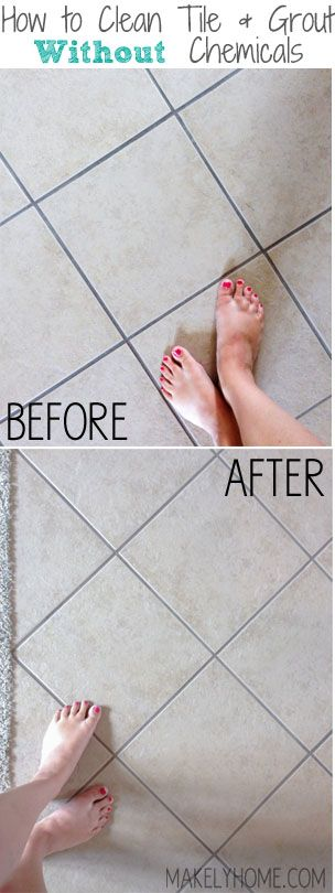 How to Clean Tile and Grout Without Chemicals via MakelyHome.com