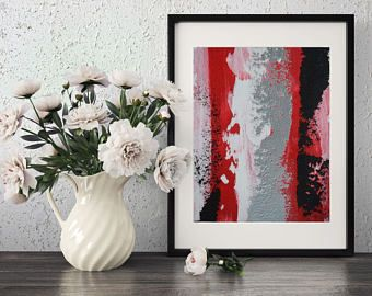 Free shipping! red and black abstract painting black and red and silver textured abstract paintings silver artwork silver metalic wall art -    Edit Listing  - Etsy