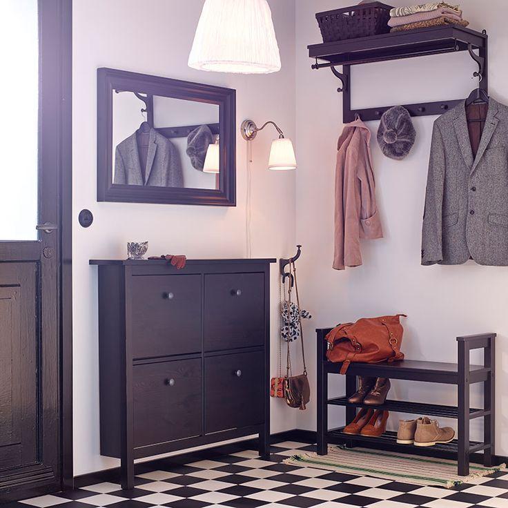 Recibidor con armario zapatero, banco con almacenaje para zapatos, sombrerero y espejo, todo negro-marrón