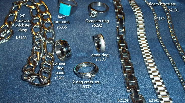 Great Stainless Steel items. Heavy and well constructed. Many to choose from and WELL worth the price! Rings, bracelets, necklaces! From just $6.00 - $25.00