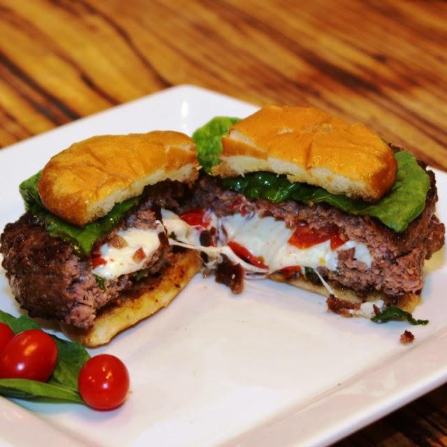 Caprese Stuffed Burger.  Yummmm.