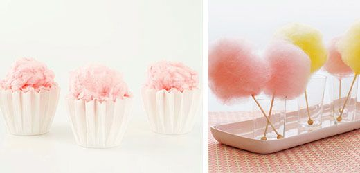 Cotton Candy as edible wedding decoration! Some cute ideas on this website, especially for the cocktails. <3