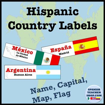 "New design for labels of the 21 Spanish-speaking countries. These 2.5"" labels include the name of the country, capital, an outline of the country's borders, and the flag of the country. Great for Bulletin board or learning the Spanish speaking countries."