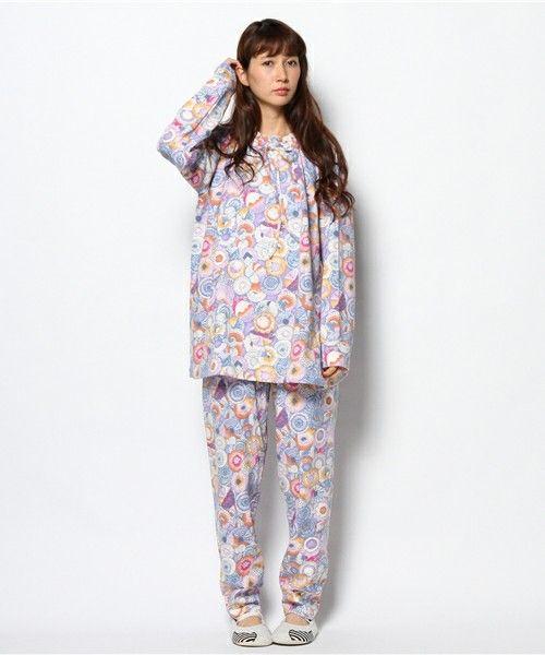 tsumori chisato SLEEP(ツモリチサトスリープ)のアニマルフェイスプリント 接結天竺 パジャマ M,Lサイズ(ルームウェア)|パープル