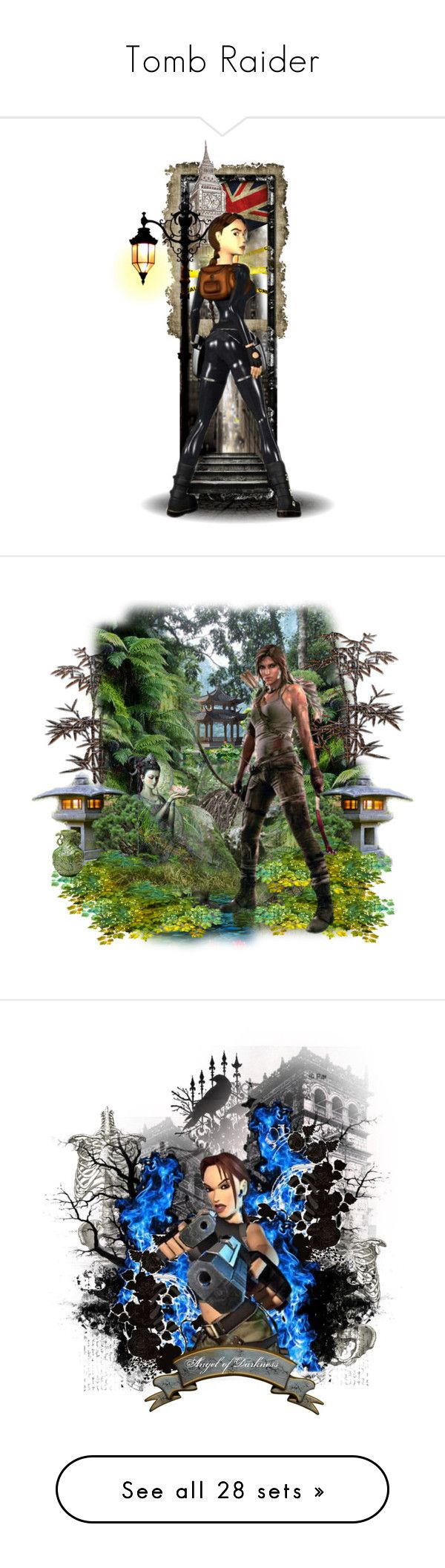 """""""Tomb Raider"""" by girlinthebigbox ❤ liked on Polyvore featuring tombraider, laracroft, art, videogames, underworld, games, RiseOfTheTombRaider and videogame"""