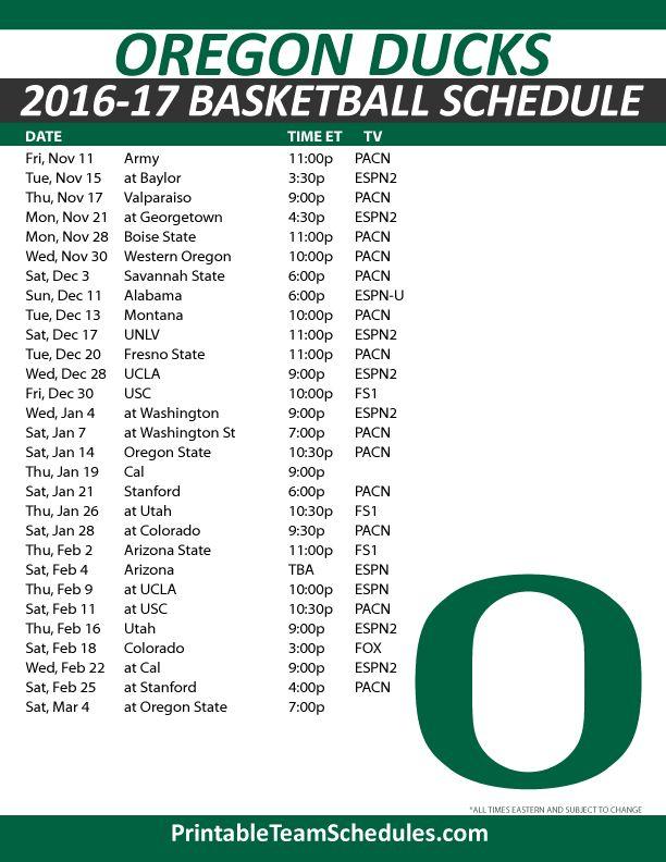 Oregon Ducks Basketball Schedule 2016-17. Print Here - http://printableteamschedules.com/NCAA/oregonducksbasketball.php