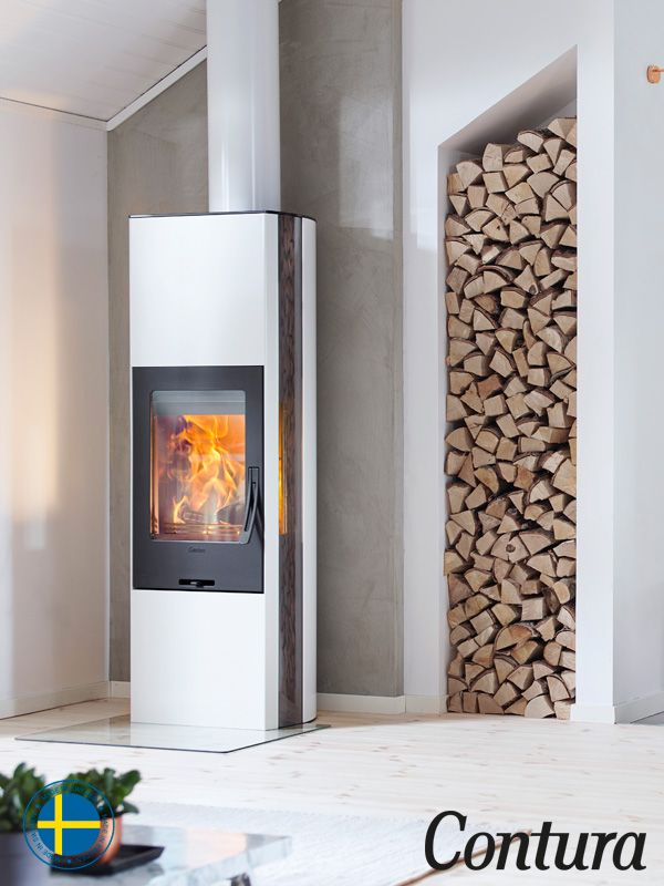Contura 35 high in White is a beatiful woodburner available with a heat tank which retains the heat up to 7 hours.