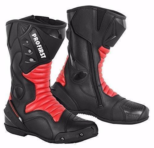 Oferta: 113.23€. Comprar Ofertas de Pro primero Split Cuero impermeable moto motocicleta blindados botas botas zapatos protección anti slip racing Sports | rojo barato. ¡Mira las ofertas!