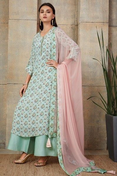 Payal Singhal Blue Palazzo Style Designer Party Wear Salwar Suit