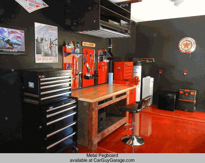 Orange Metal Pegboard By Wall Control Garage Storage