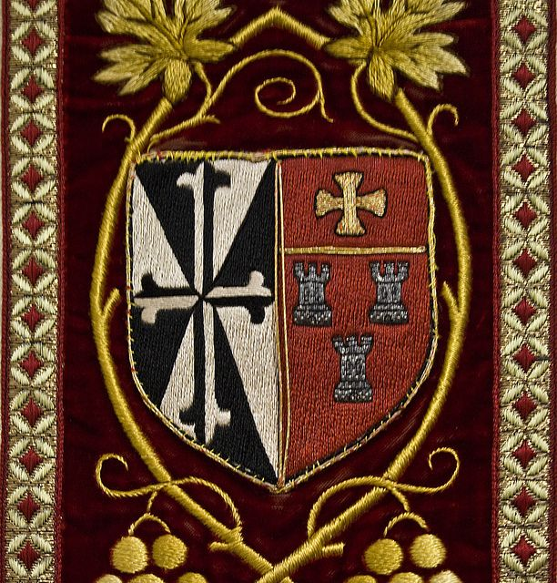 The Arms of the Dominican Order and the City of Newcastle on a priest's chasuble