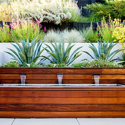 Agave-lined fountain